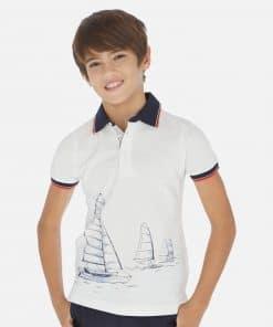 Mayoral Πόλο κοντομάνικο σταμπωτό ναυτικό αγόρι 20-06142-069