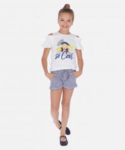 Mayoral Σετ μπλούζα και σορτς ριγέ φιόγκος κορίτσι 20-06259-092