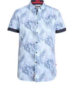 Ανδρικό Πουκάμισο Duke Santana Hawaiian φύλλο τύπωμα κοντό μανίκι 100611-Santana